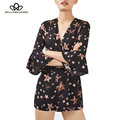 Bella philosophy 2017 spring and summer new five-pointed star printing horn sleeve casual  black playsuits S-L