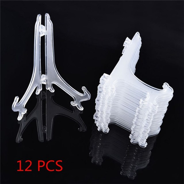 12pcsset Picture Frame Dish Plate Holders Display Clear Plastic