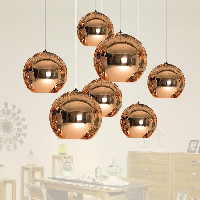 Современные светодиодный хром золото Медь Стекло глобус круглый шар подвесные светильники Висячие Освещение для Обеденная Hanglamp лампа