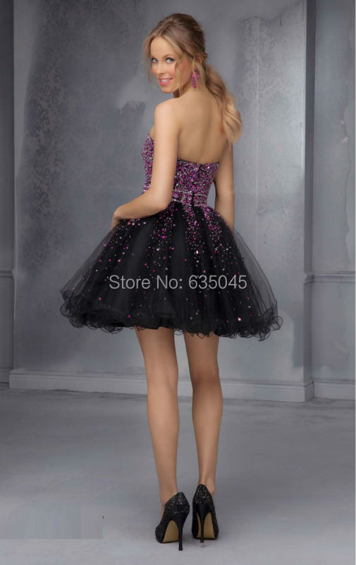 cf0028544a6 Robe De Cocktail Bustier 2015 Custom Made Organza Beaded Crystal Mini Black  and Purple Cocktail Dresses Vestidos De Fiesta-in Cocktail Dresses from  Weddings ...