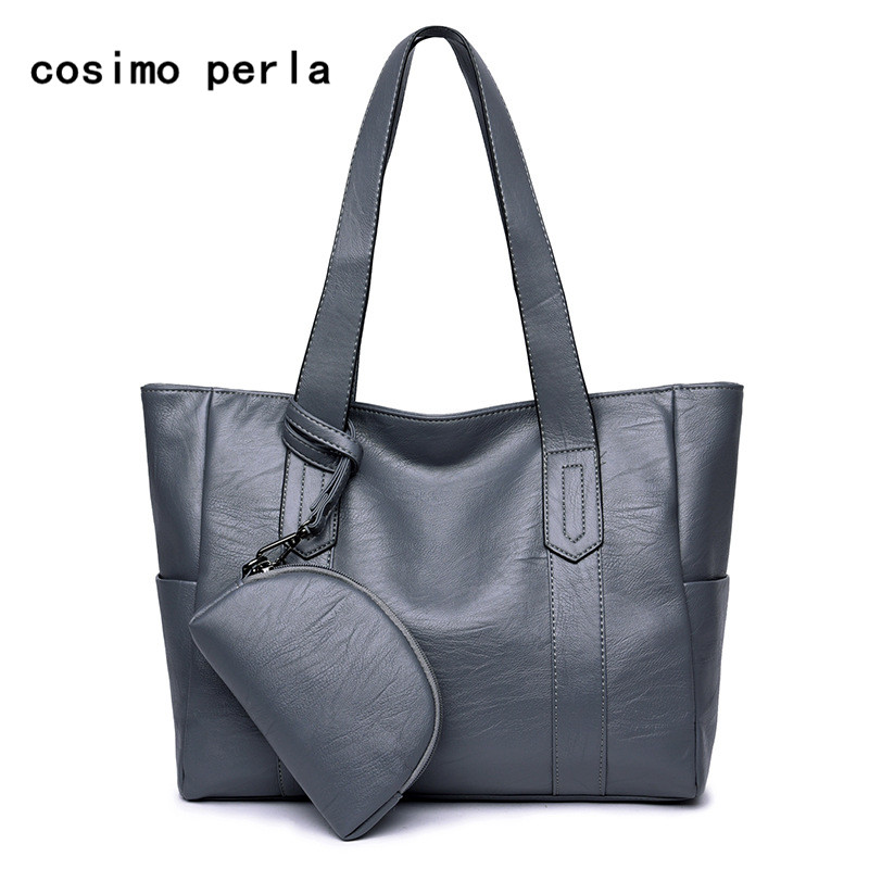 Soft Leather Composite Bags Set Bag for Women Large Capacity Causal Tote Shoulder Fashion Ladies Handbag with Coin Purse Wallet