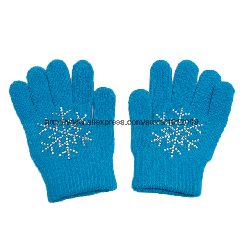 10 Colors Magic Wrist Gloves Figure Skating Ice Training Gloves Exquisite Warm Fleece Thermal Child Adult Snow Rhinestone 10