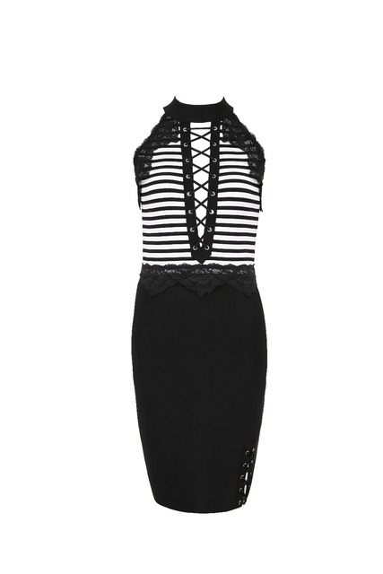 Black lace cocktail dress sleeveless bandage