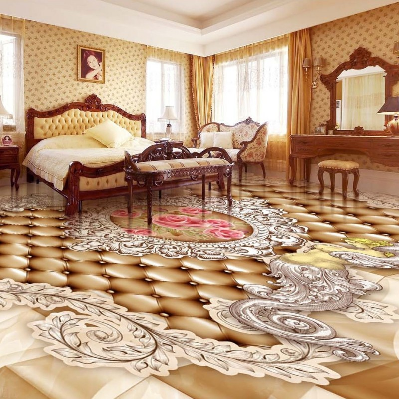 ФОТО Free Shipping HD European pattern angel rose 3D floor custom self-adhesive wallpaper living room mural