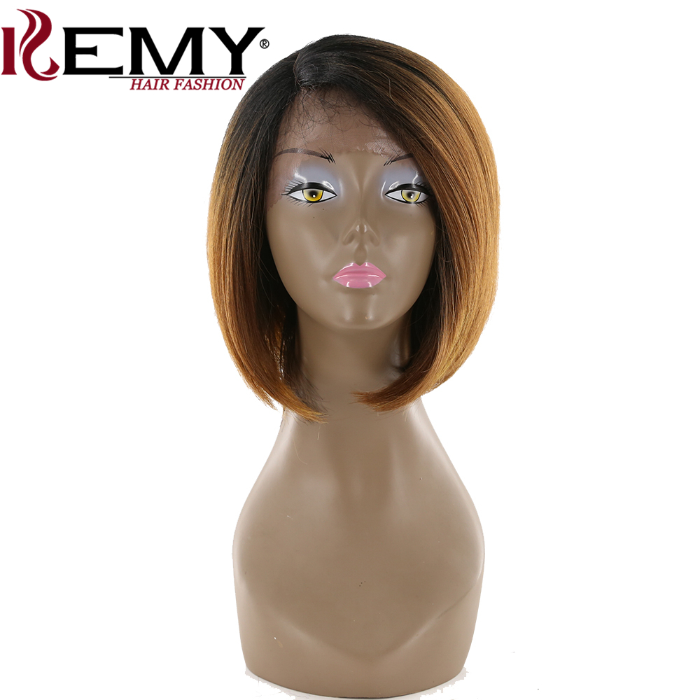 KEMY HAIR Short Bob Synthetic Lace Front Wigs With Baby Hair Ombre Brown Heat Resistant Straight Short Side Part Wig For Women
