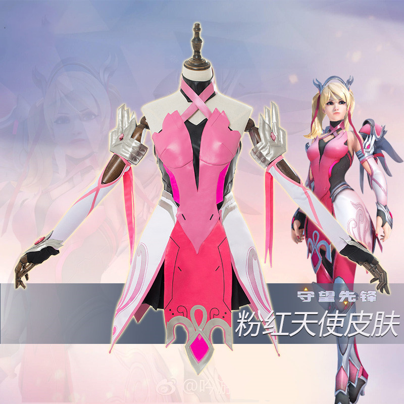 Hot Game Mercy Pink Angela Ziegler Fighting Uniforms Cosplay Costume Full Sets