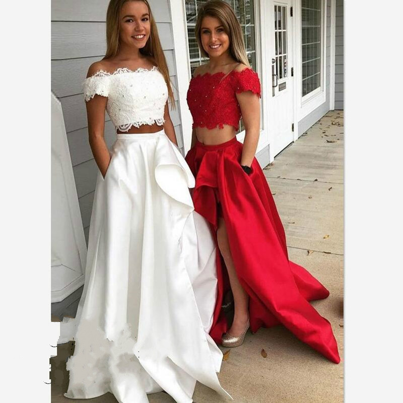 2019 White Red New Bridesmaid Dress Long Two Pieces Sukienka Off The Shoulder Lace Hochzeit Kleider Gast