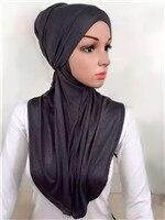 LJ6 модальный Двухсекционный мусульманский хиджаб шарф модный хиджаб оголовье шарф - Цвет: LJ60002