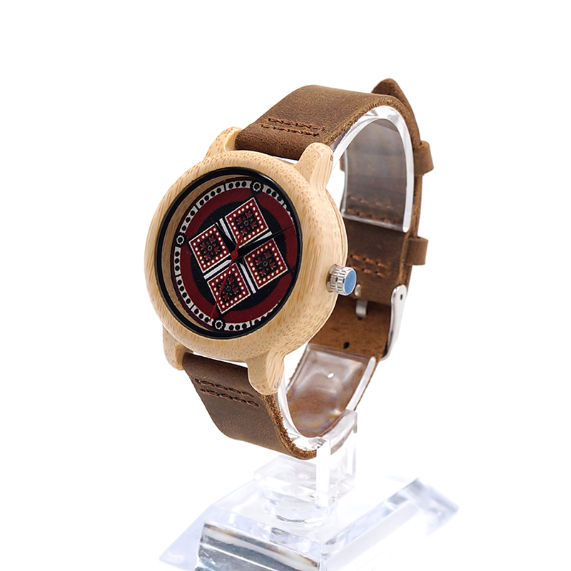 Image 2 - BOBO BIRD J19 Bamboo Wooden Watch Women Genuine Leather Band Watch With Japanese Miyota Movementwatch withwatch womenwatch woman genuine leather -