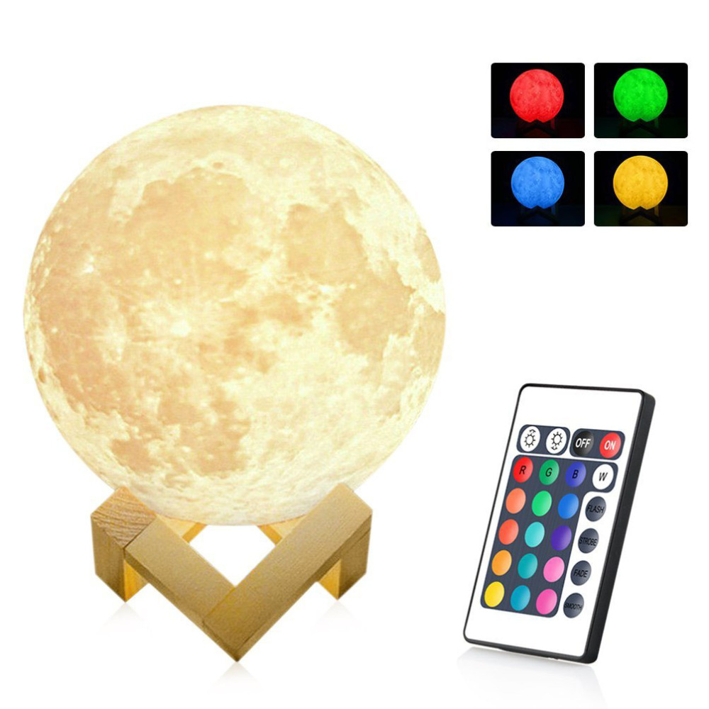 Magical Moon Rechargeable LED Night Light Moonlight Desk Lamp 3D Print Touch/Pat/Telecontrol Color Change for Creative Gift