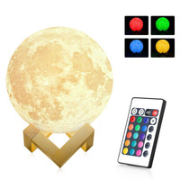 Magical Moon Rechargeable LED Night Light Moonlight Desk Lamp 3D Print Touch Pat Telecontrol Color Change