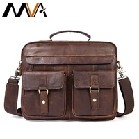 MVA Briefcase Male Genuine Leather Bags Men For Documents Laptop Bag Leather Messenger Bags Business Bag