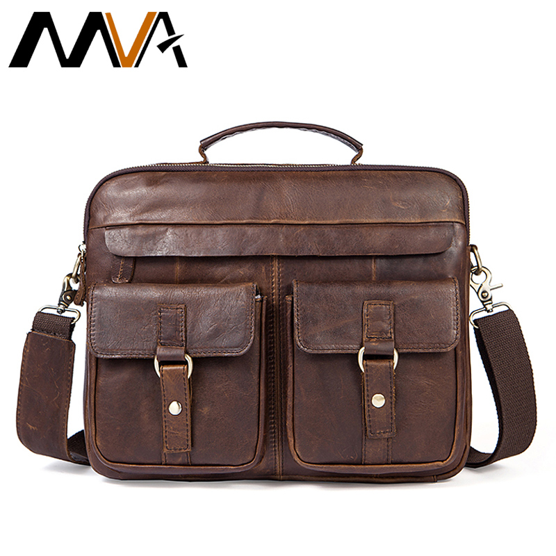 MVA Men's Briefcases Messenger Bags Men Genuine Leather Briefcases Bag for Documents Laptop Leather Business Bags Work Bag