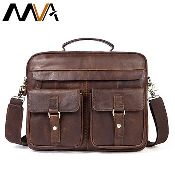 MVA torby męskie teczki prawdziwej skóry skórzana torba na laptop torebki biurowe dla mężczyzn mężczyzna teczka torba na laptop biznes tote dla dokument tanie i dobre opinie Genuine Leather cowhide genuine leather Solidna torba Single Mężczyźni 30cm zipper Sukienka Wnętrze breloczków łańcucha