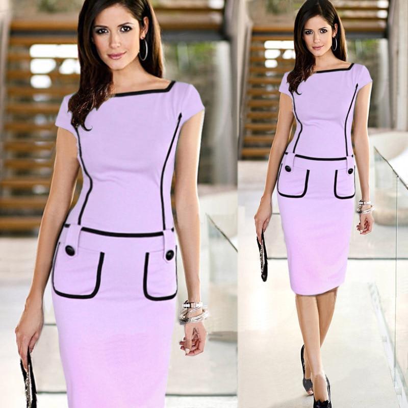 New Women Dress Summer Women Work Wear High Quality Knee Length Pocket Casual Brief Bodycon Pencil Dress Career Gown