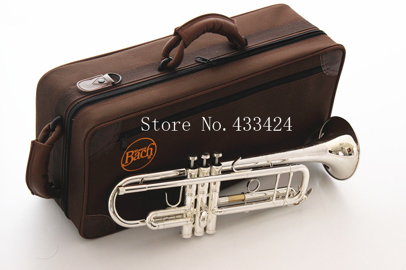 Bach Stradivarius Double Silver plated TR-190S Flat Professional Trumpet Top Musical Instruments Brass Bugle Bb