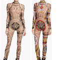 XXXL Plus Size Mulheres Curvy Africano Asteca Tribal Tattoo Imprimir Malha Jumpsuit Romper Bodysuit Celebridade Catsuit Jumpsuit Treino