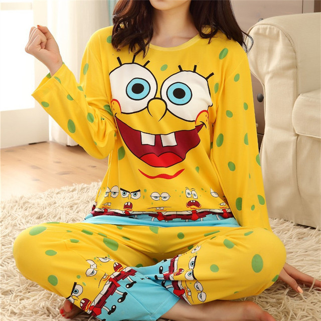 Moda outono inverno das mulheres pijamas set, new bob esponja conjunto mulheres roupas de algodão, doce fêmea twinset pijamas roupa sleepwear