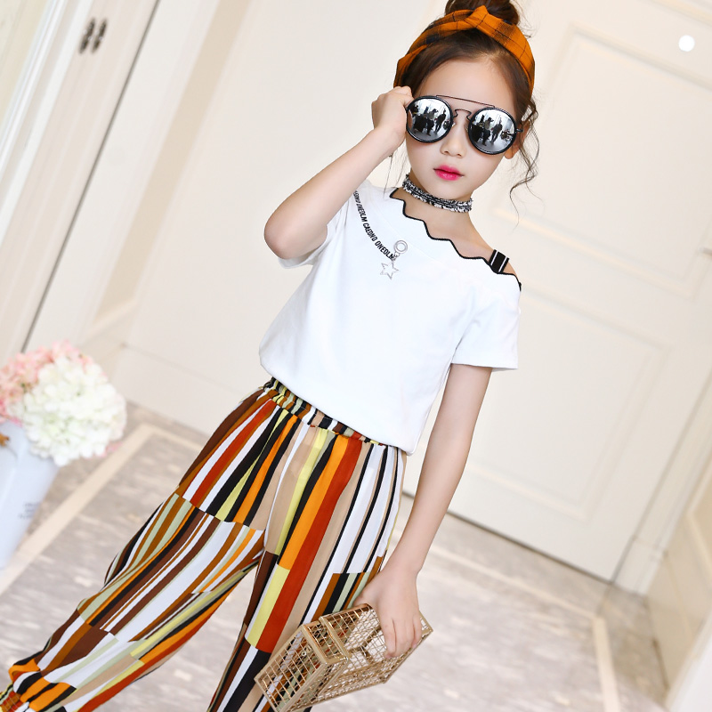 Summer 2018 Kids Fashion Girls Clothing Sets 2 Pcs White Blouses Shirts + Pants Suits For Teenage Girls Clothes Sets 10 12 Years wholesale kids clothing 2018 toddler girls summer clothing beach mermaid swimsuit teenage girls clothes for 10 years bikini suit