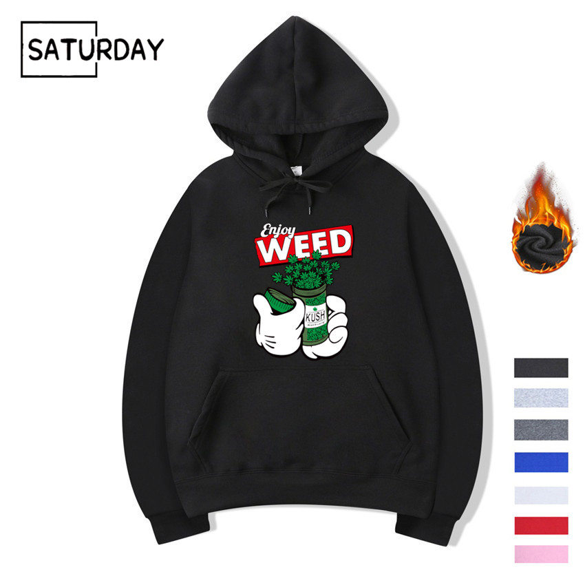 Men's Winter Weed Hip Hop Swag Design Print Fleece Hoodies Sweatshirts Autumn Unisex Women Funny Black Hoody Man Winter Clothes