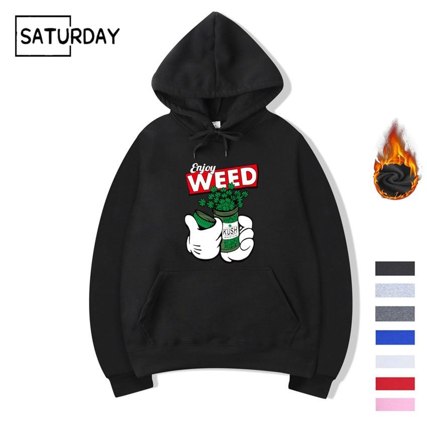 Men's Winter Weed Hip Hop Swag Design Print Fleece Hoodies Sweatshirts Autumn Unisex Women Funny Black Hoody Man Winter Clothes