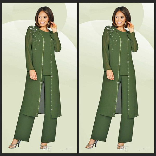 3 Pieces 2018 Chiffon Mother Of The Bride Pant Suits Beads Long Jacket  Kurti Army Green Plus Size Wedding Guest Dresses madrinha aae50ffa5d18