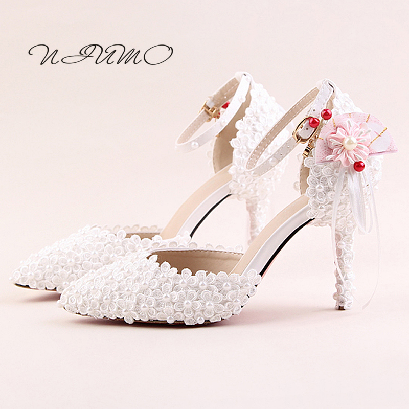 White lace pearl bridal shoes Tip fine with the word wristband shoes Kawaii flower fan female sandals summer