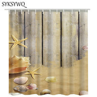Vintage Wood 3D Shower Curtain Seastar Sandbeach Bathroom Curtain Shower Beach Curtain For Bathroom Waterproof Rideau De Douche