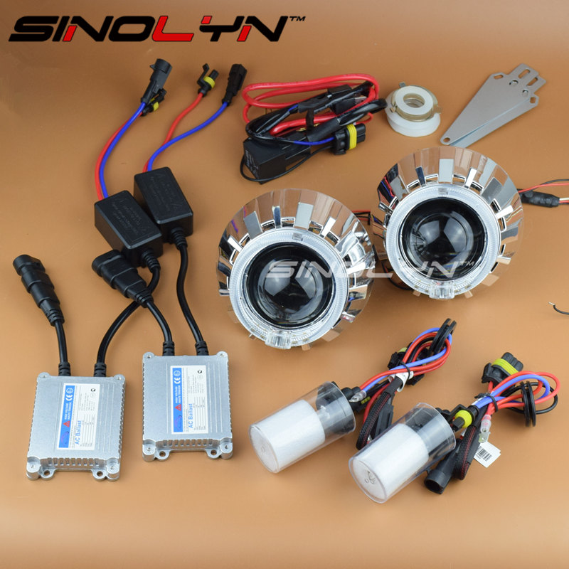 SINOLYN Automobiles LED Angel Eyes Halo HID Bixenon Car DIY Projector Lenses for the Headlights Kit Car Accessories Retrofit sinolyn led angel eyes car projector lens hid bixenon headlight devil evil eyes headlamp retrofit kit for car motorcycle styling