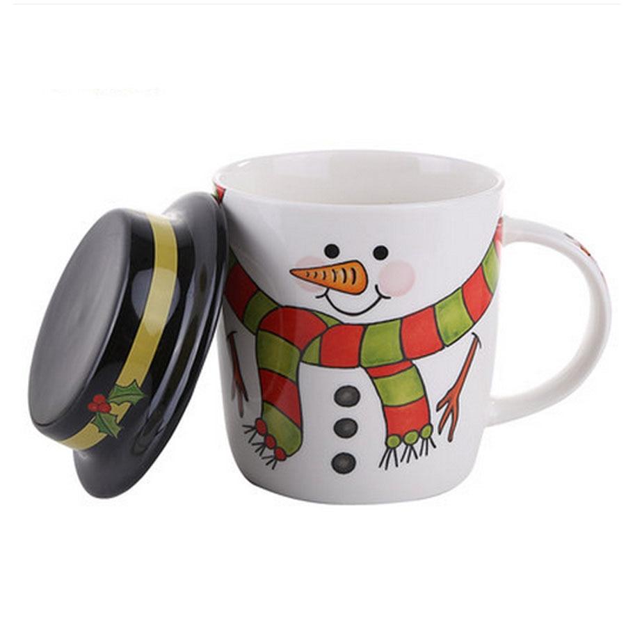 Cartoon Santa Schneemann Keramik Weihnachten Kaffeetasse Set lustige ...