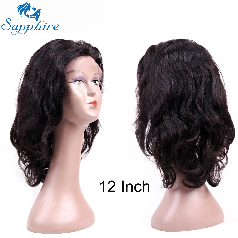 Sapphire Peruvian Body Wave Human Remy Lace Frontal Wigs Natural Black Wigs 10-20 Inch Human Hair Wigs with Baby Hair Free Shipp