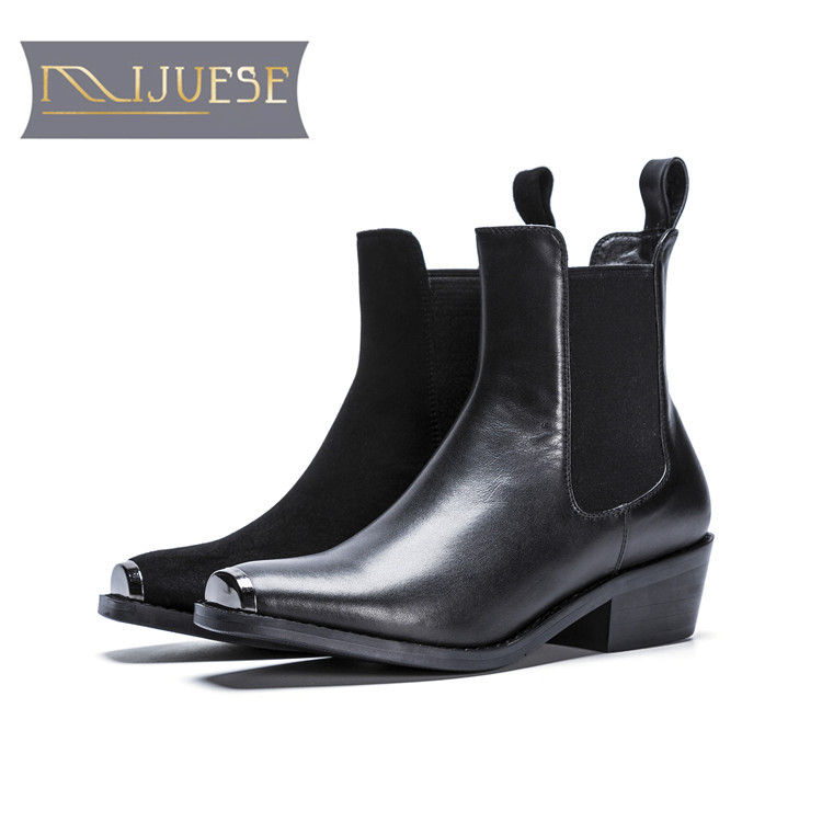 MLJUESE 2018 women ankle boots cow leather black color square toe slip on autumn spring women Chelsea boots casual boots martine women ankle boots flat with chelsea boots for ladies spring and autumn female suede leather slip on fashion boots
