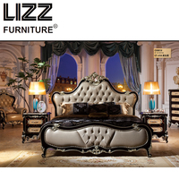 Chesterfield Bed Royal Furniture Set Bed Room Antique Style Furniture Solid Wood Night Table Luxury Leather Bed