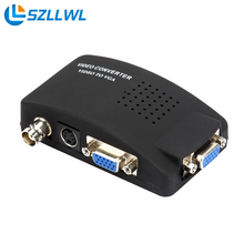 Szllwl 1080P BNC to VGA video converter Composite S-video Input to PC VGA Adapter Digital Switch Box For computer
