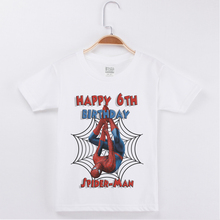 2019 Children T Shirt Printing Spiderman Cartoon Tops 100% Cotton Birthday Clothes For Girls T-shirts Kids Boys Party Tees
