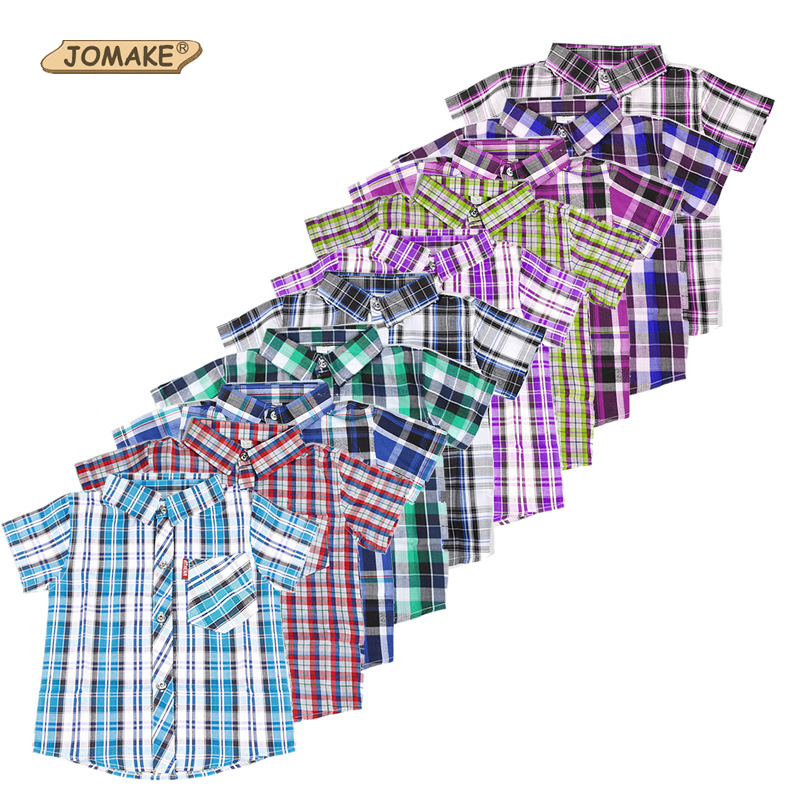 Summer Short Sleeve Plaid Boy's Shirts Casual Turn-down Collar Camisa Masculina Blouses for Children Kids Clothes Boys Shirt classic plaid pattern shirt collar long sleeves slimming colorful shirt for men