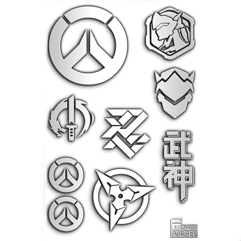 PowerAngel 1 Set Hot Game OW D.VA GENJI Reper Mercy Pharah Zarya 3D Metal DIY Stickers Mobile Phone Sticker Laptop Decal Sticker