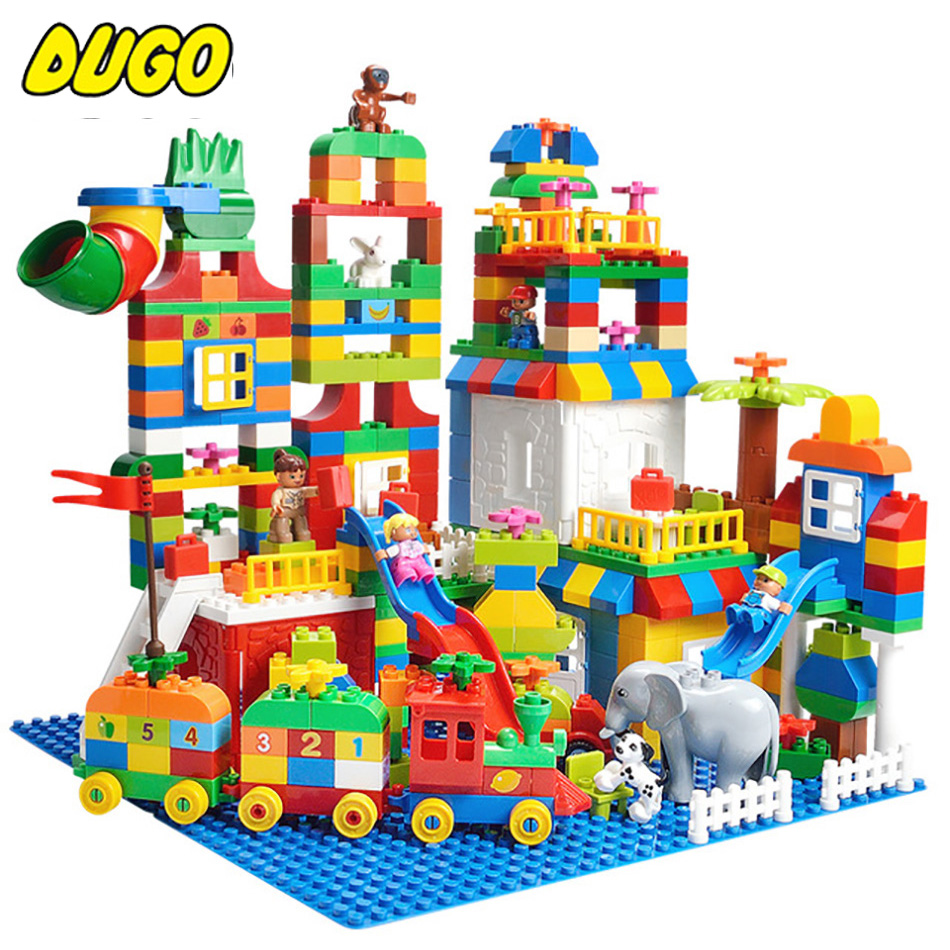 Colorful DIY Big Size Duplo Building Blocks Train Bricks Birthday Gift Toy Compatible Legos Duplo Educational Toys For Children new big size 40 40cm blocks diy baseplate 50 50 dots diy small bricks building blocks base plate green grey blue