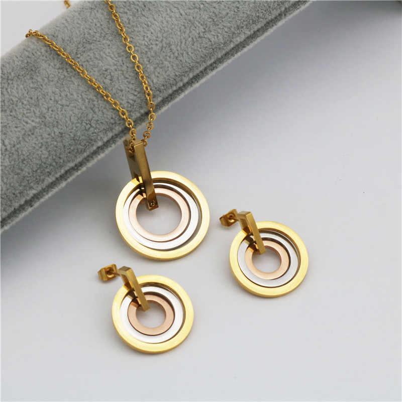 three-colour stainless steel jewelry Sets For Women  fashion  Necklace Earrings jewelry Set