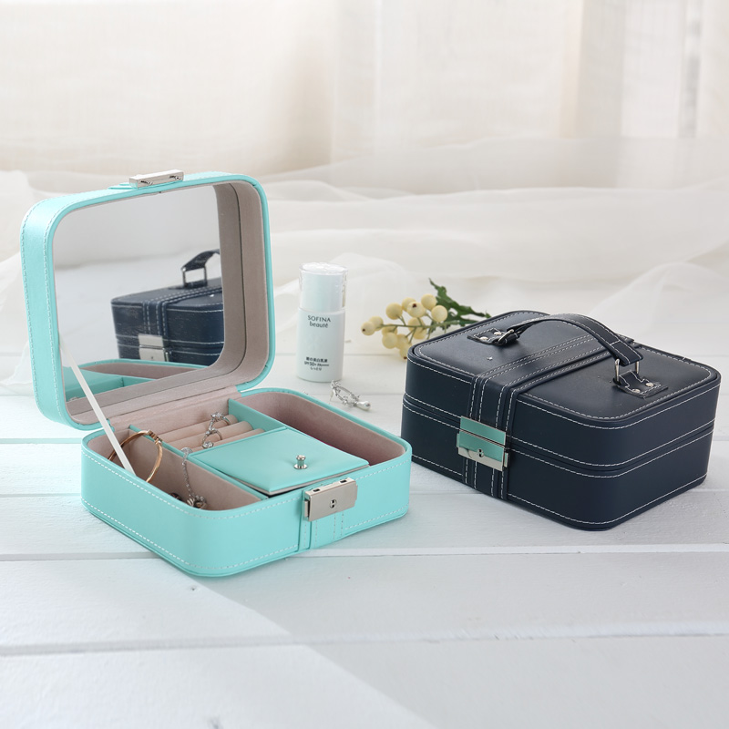 2017 New Arrival Sweet Leather Partable Lipstick Storage Box Eco-friendly Stiching PU Jewel Case With Lock Free Shipping