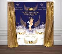 custom Gold Royal Blue Prince Crown angel wings photo backdrop High quality Computer print party background