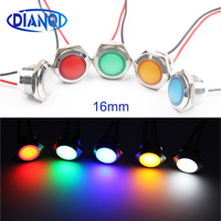 Diodo emissor de luz luz indicadora de metal 16mm luz impermeável 3 v 6 v 12 v 24 v 220v parafuso conectar vermelho amarelo azul branco 16zsd. qx. x|Luzes indicadoras| |  -