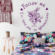 Alice in Wonderland Rabbit Quote Wall Decal Follow Me Ill Take You To Childrens Room Vinyl Sticker Home Decor M-69