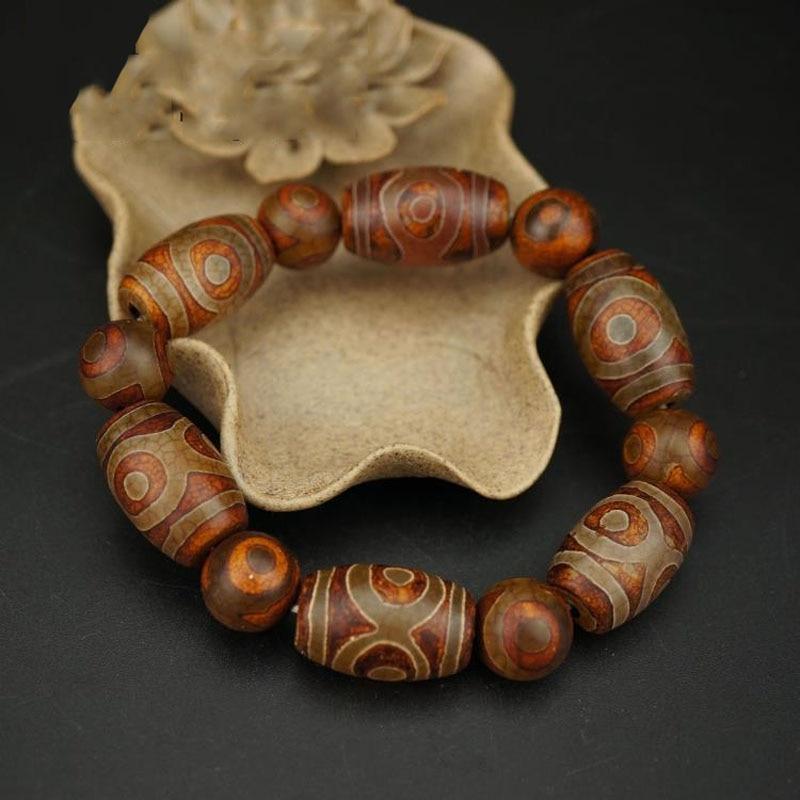 KYSZDL Tibet natural Old stone three eye prayer beads bracelet men and women lovers jewelry wholesale