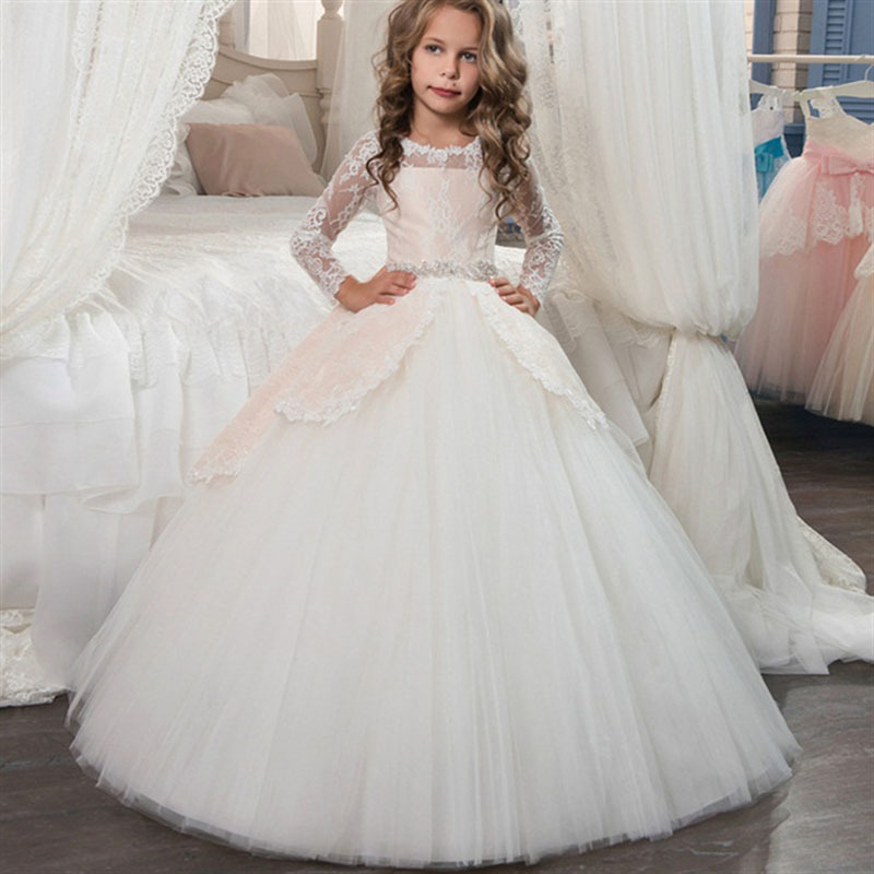 White ivory bloemenmeisjes jurk   Dresses   2019   Flower     Girl     Dresses   For Weddings Collect waist Cap Tulle Lace Crystals Long   Dresses