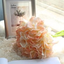 Silk Hydrangea Artiffisial Blodau DIY Addurn Blodau Addurno Priodas Parti Priodas Ystafell fyw Pen-blwydd Addurno Bride tusw