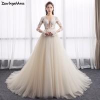 Vestido De Novia Arab Style Lace Long Sleeves Wedding Dresses Illusion Backless Champagne Wedding Gowns Dubai Bridal Dresses