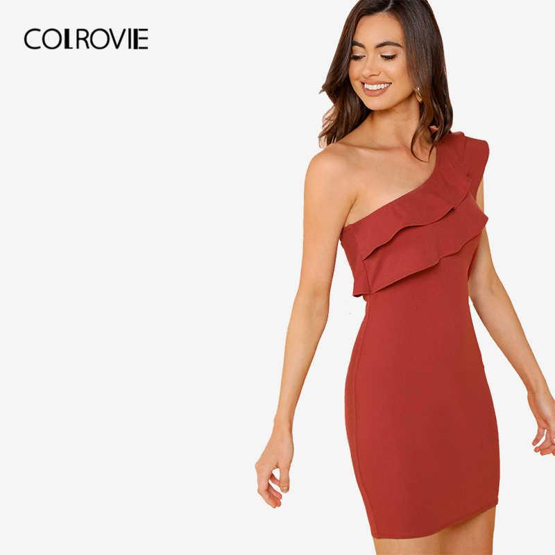 COLROVIE, ржавчина, сексуальное, на одно плечо, облегающее, Многоуровневое, с рюшами, короткое, вечерние, женское платье, осень 2018, одноцветное, облегающее платье, летнее платье