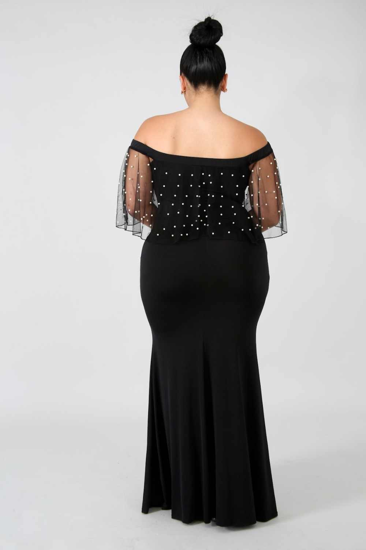 457a0a9604dd3 Summer Long Dress Chubby Woman Off Shoulder Beaded Maxi Dress Pearl ...