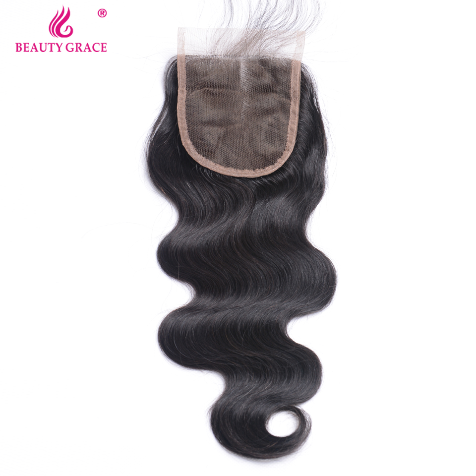 Beauty Grace Brazilian Body Wave Hair Lace Closure Remy Human Hair 4x4 Inch Middle Part Swiss Lace Top Closure Free Shipping